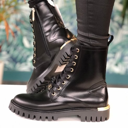 Tommy Hilfiger Ladies Black Leather Lace Up Cleat Boots