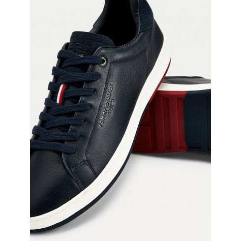 Tommy Hilfiger Mens Navy Retro Leather Cupsole Tennis Trainers