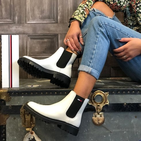 Tommy Hilfiger Ladies White Leather Cleat Chelsea Boots