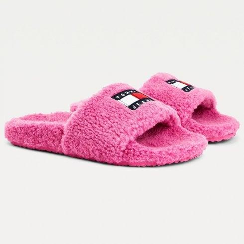 Tommy Hilfiger Ladies Pink Badge Sherpa Slide Slippers