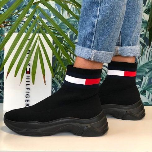 Tommy Hilfiger Ladies Black Flag Patch Sock Boots