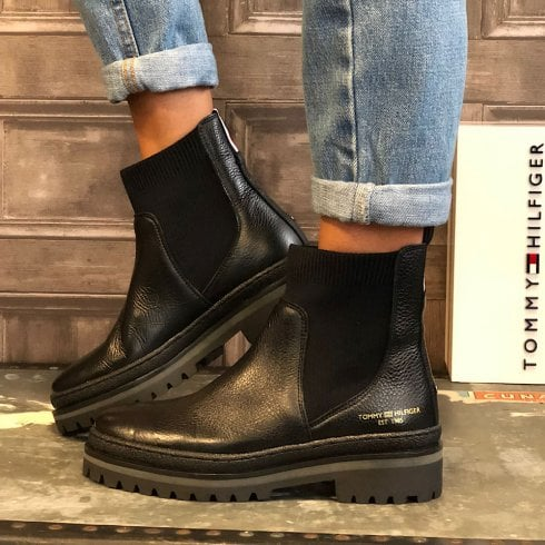 Tommy Hilfiger Ladies Black Knitted Panel Leather Cleat Boots
