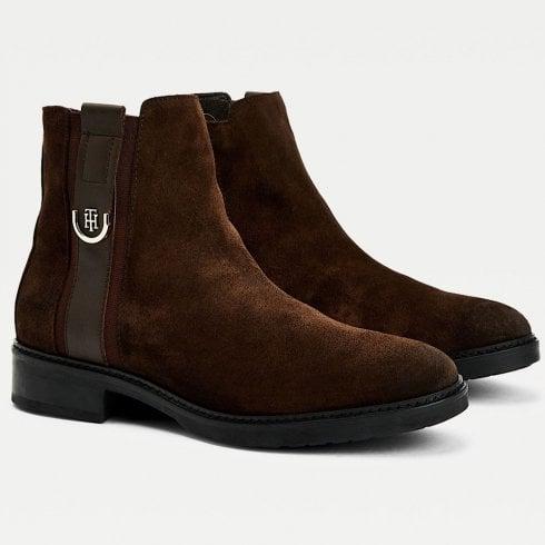 Tommy Hilfiger Ladies Dark Brown Suede Monogram Ankle Boots