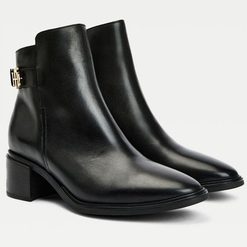 Tommy Hilfiger Tommy Hilfiger Ladies Black Monogram Plaque Leather Ankle Boots