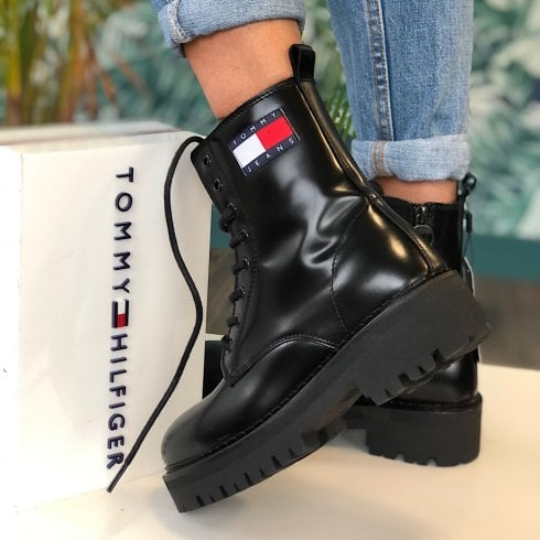 Tommy Hilfiger Ladies Black Badge Cleat Leather Boots