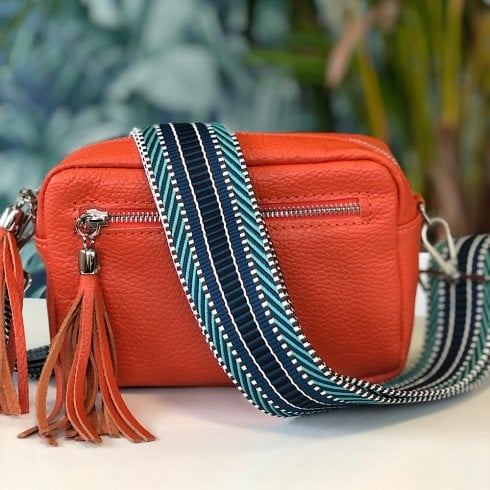 Elie Crossbody Bags Elie Orange Leather Crossbody Bag - with Blue Aztec Strap