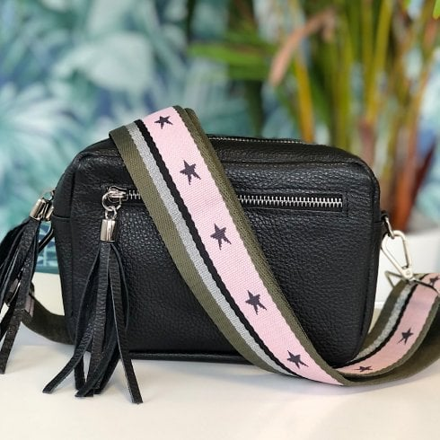 Elie Crossbody Bags Elie Black Leather Crossbody Bag - with Green/Pink Stars Strap