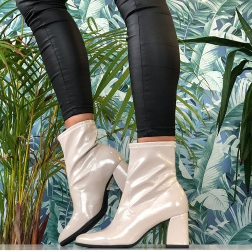 Tamaris Ladies Dusty Grey Stretch Block Heel Ankle Boots