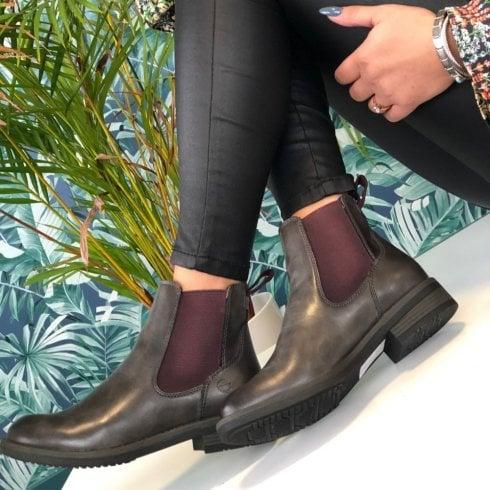 Tamaris Ladies Grey and Burgundy Slip On Chelsea Boots