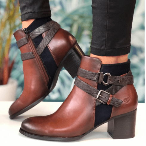 Susst Ladies Sofia Tan Navy Heeled Boot