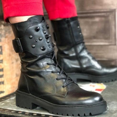 Unisa Ladies Gressy Black Stud Gem Calf Length Boot