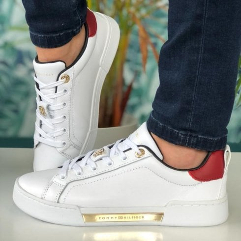 Tommy Hilfiger Ladies White Elevated Monogram Cupsole Trainers