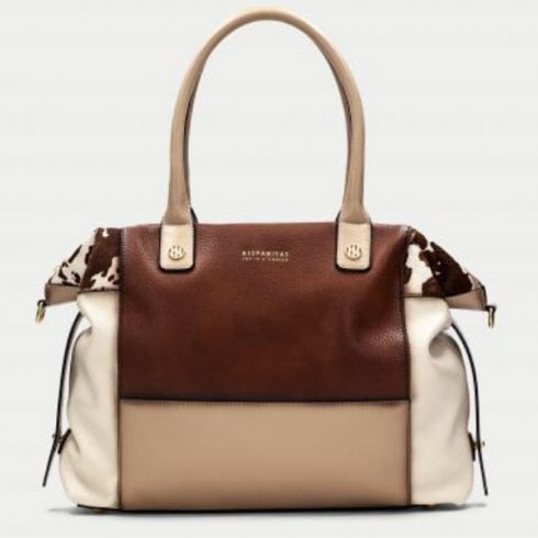 Hispanitas Ladies Cream and Tan Cow Print Handbag