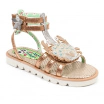 Irregular Choice Girls Crab Gladiator Gold Sandals
