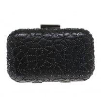 Lunar Womens Caroline Black Diamante Detail Hard Clutch Bag