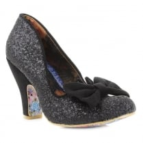 Irregular Choice Nick of Time Black Glitter Court Heels