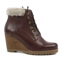 Carmela Brown Fur Cuff Lace Wedge Ankle Boots