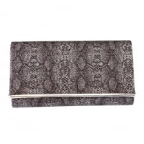 Barino Womens Silver Reptile Clutch Bag