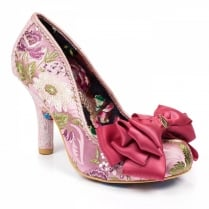 Irregular Choice Ascot Pink Silky Floral Bow Trim Court Heels