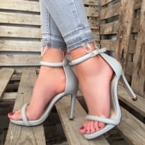 Millie & Co Barely There Heeled Sandal - Grey