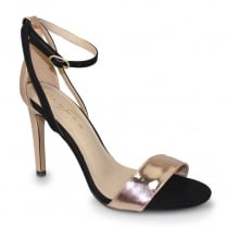 Lunar FLE018 Miami Black High Heeled Barely There Ankle Strap Sandals