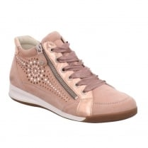 Ara Womens Lace Up Rose Leather Hi Top Sneaker Shoes