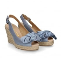 Unisa Slingback Blue Wedge Espadrille Sandals