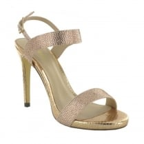 Menbur Ariccia Rose Gold Diamante Strappy High Heeled Sandals