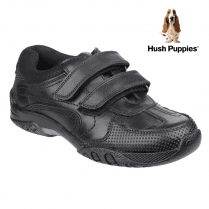Hush Puppies Jezza Black Leather Velcro School Shoe