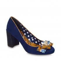 Ruby Shoo Pandora Suede Chunky Heel Shoes - Navy