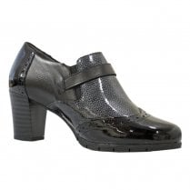 Pitillos Womens Mid Block Heeled Brogue Shoes - Black