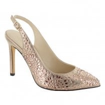 Menbur Genari Sling Back Pointed Court Shoes - Rose Gold