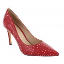 Menbur Laval Studded Pointed Toe Stiletto Shoes - Red
