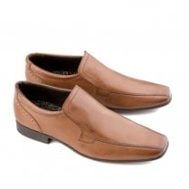 Ikon Saxon Men's Leather Slip On Dress Shoes - Tan