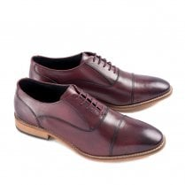 Ikon Toby Men's Leather Lace Up Smart Brogue Shoes - Bordo