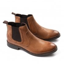 Ikon Clayton Mens Leather Chelsea Boots - Tan