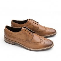 Ikon Russell Mens Leather Lace Up Derby Brogues Shoes - Tan