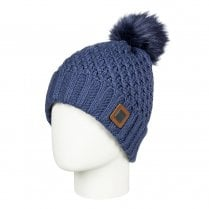 Roxy Women's Blizzard Pom-Pom Beanie Knit Hat - Navy