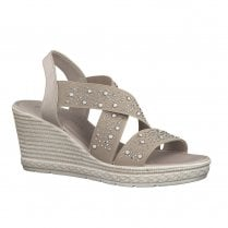 Marco Tozzi Womens Wedge Heeled Sandals - Beige Dune