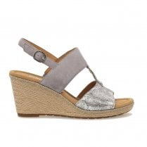Gabor Ladies Slingback Buckle Wedge Heeled Sandals - Grey/Silver