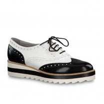 Tamaris Womens Lace Up Brogue Shoes - Black & White