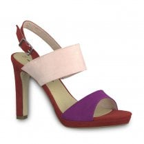 Tamaris Womens Suede High Heel Sandals - Cherry Multi