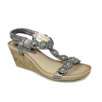 Lunar Womens JLH780 Cally Wedge Heeled Sandals - Pewter
