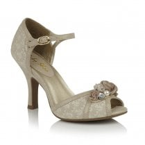 Ruby Shoo Clarissa Ankle Strap Heeled Sandals - Cream Gold