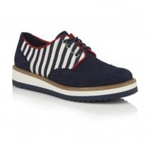 Ruby Shoo Davina Brogue Style Shoes - Navy Stripe