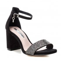 XTI Ankle Buckle Strap High Heeled Occasion Sandals - Black