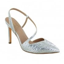 Menbur Sling Back Occasion Pointed Court Shoes - Silver