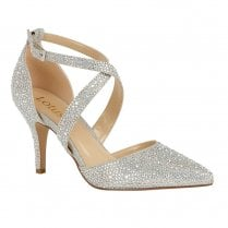 Lotus Star Occasion Heeled Court Shoes - Silver & Diamante