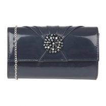 Lotus Aria Patent Occasion Clutch Bag - Navy