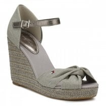 Tommy Hilfiger Metallic Elena Wedge Sandals - Light Grey